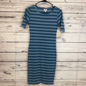 LulaRoe blue striped Julia dress